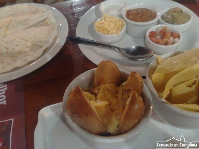 Batata com carne e queijo - Nachos - Quesadilla - Molhos